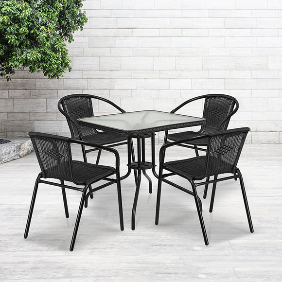 28'' Square Glass Metal Table with Chairs