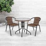 28'' Round Glass Metal Table with Chairs