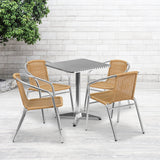 23.5'' Square Aluminum Indoor-Outdoor Table and Chairs Set