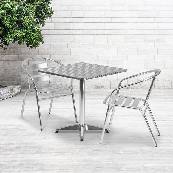 27.5'' Square Aluminum Indoor-Outdoor Table and Chairs Set