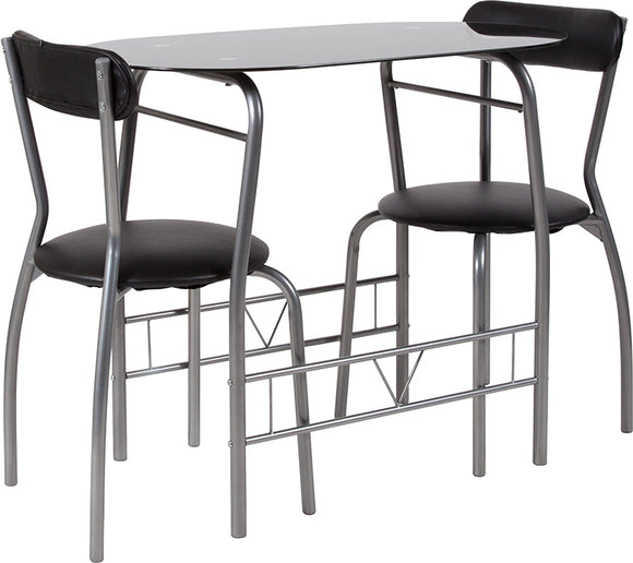 Sutton 3 Piece Space-Saver Bistro Set Padded Chairs