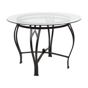 Syracuse Round Glass Dining Table with Metal Frame