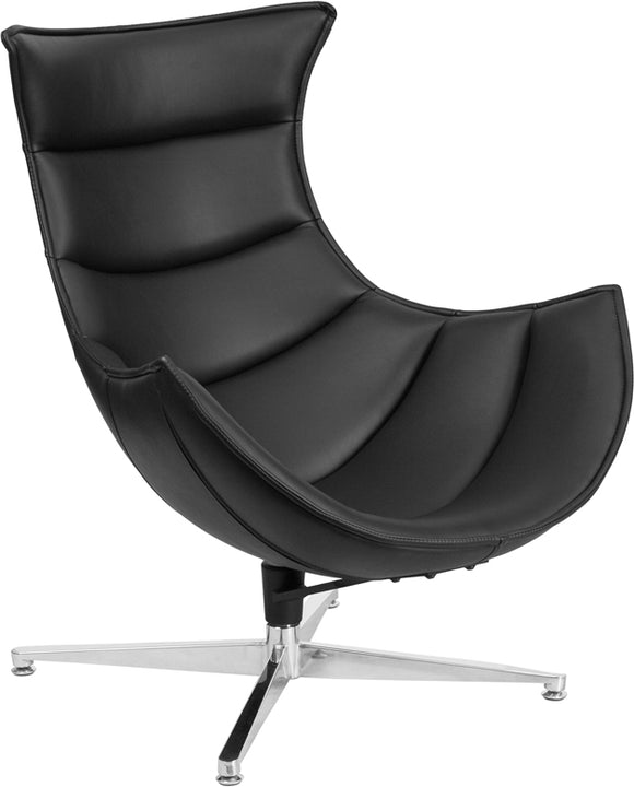 Black LeatherSoft Swivel Cocoon Chair