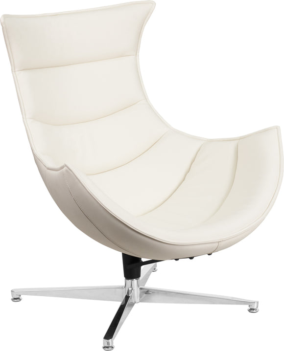 Melrose White LeatherSoft Swivel Cocoon Chair