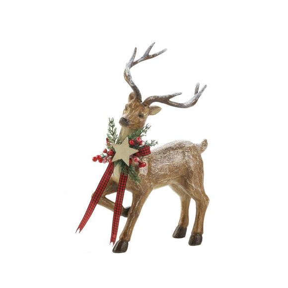 Rustic Holiday Reindeer Figurine