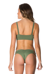 Baja  Brazilian Bikini Bottom in Olive Green