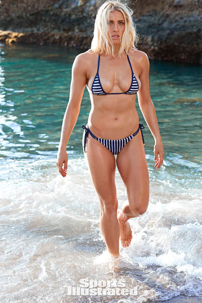 Abby Dahlkemper  Stripes White and Navy Brazilian Bikini SI 2019
