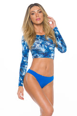 Long Sleeve Top Blue Palm