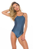 Audrey Shiny Navy One piece Swimsuit