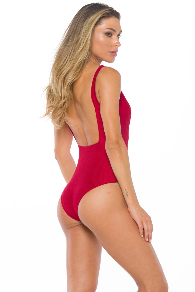 Chanel Cherry Shiny One piece Swimsuit