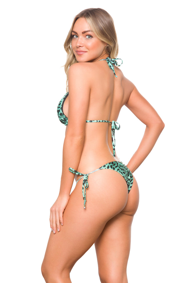 Triangle and side ties bottom in exclusive printed Leopard Green Reversible and Seamless