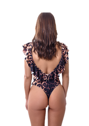 Ruffles Leopard   One piece Swimsuit