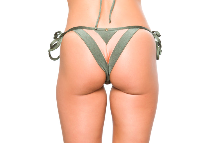 Triangle   Brazilian Bikini  Bottom Olive and Rosee Shimmer