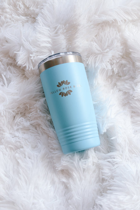 Yellow Rose & Co Wine/Coffee Tumbler//Teal