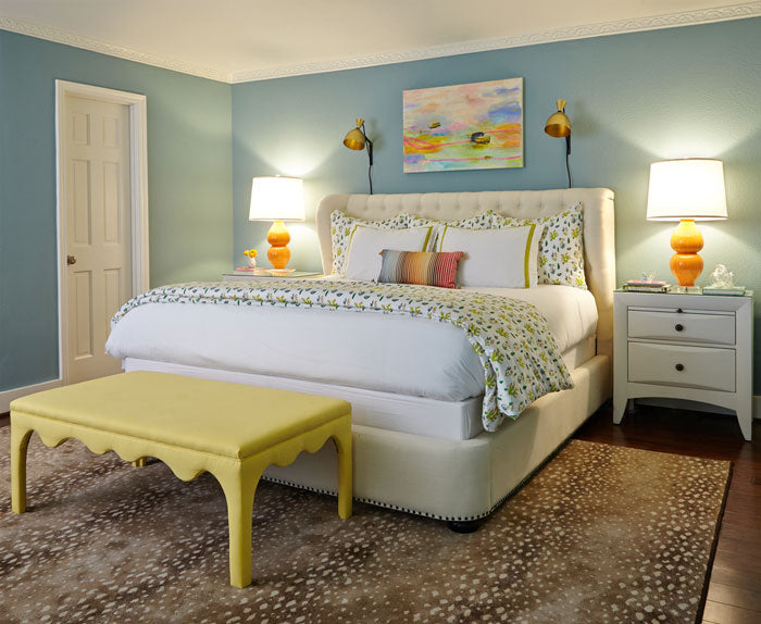 colorful chartreuse and blue bedroom -interior design by Maddie Hughes