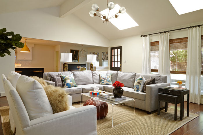 living room sectional with pillow - designer Maddie Hughes