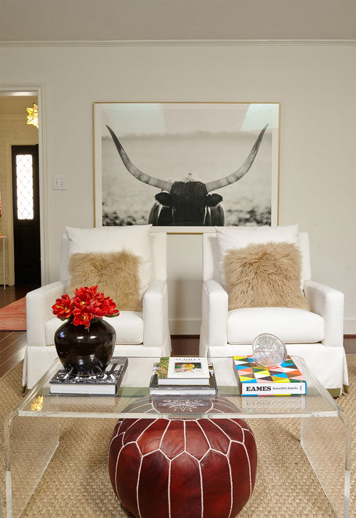 white upholstered arm chairs in living room - interior design by Maddie Hughes
