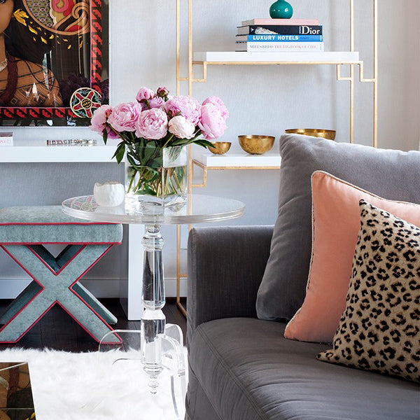 interior design by Jennifer Wagner Schmidt | designer pillows from Arianna Belle | Leopard Linen and Blush Pink Velvet