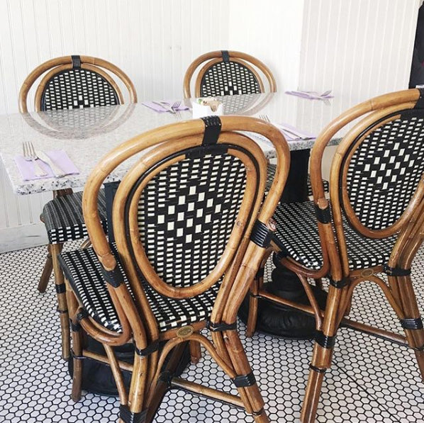 Santa Barbara bakery with french bistro chairs taken by @arianna_belle