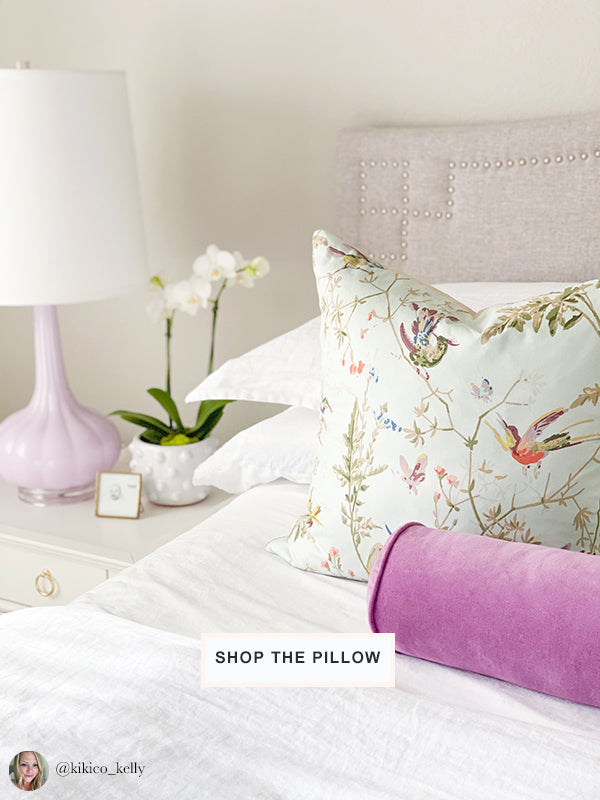 bed with Hummingbirds designer pale aqua pillow from Arianna Belle | home of Kelly Christine