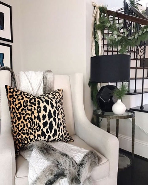 Cozy reading nook with comfy chair, warm throw and luxe pillow | home of Megan Ardoin, Leopard Velvet pillow from Arianna Belle