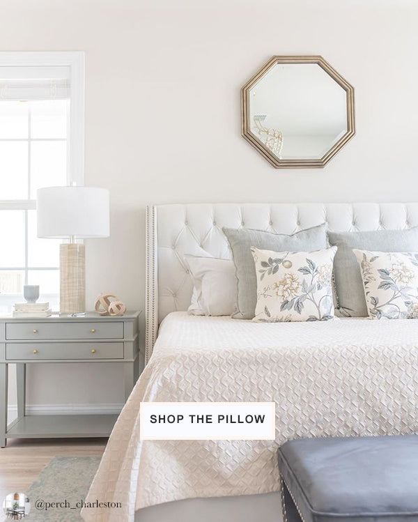peaceful bedroom in calm soft colors | designer pillows from Arianna Belle | interior design by Perch Interiors