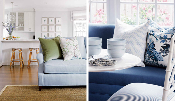 blue sofas with designer pillows