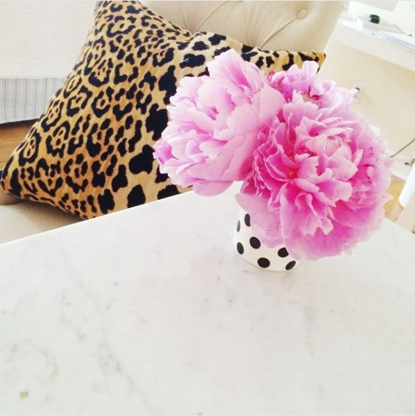 Leopard Velvet pillow from Arianna Belle | home of Brighton Keller | pink peonies