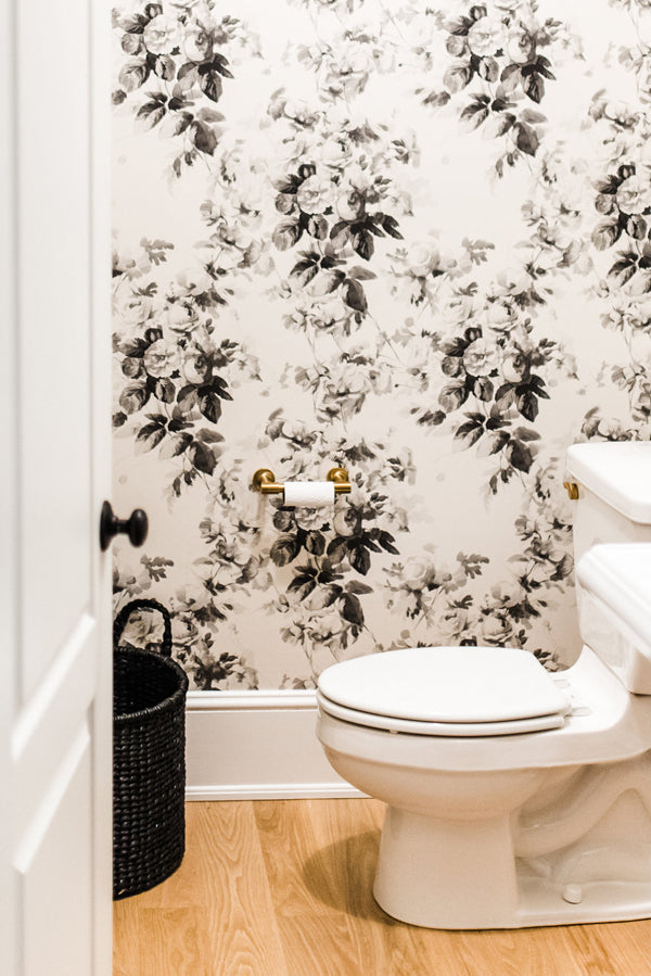 Designer Spotlight Kate + Amanda | Arianna Belle Blog | floral wallpapered powder bathroom - grey, cream and black