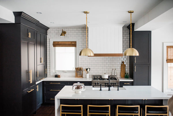 Designer Spotlight Kate + Amanda | Arianna Belle Blog | black and brass kitchen with white subway tile