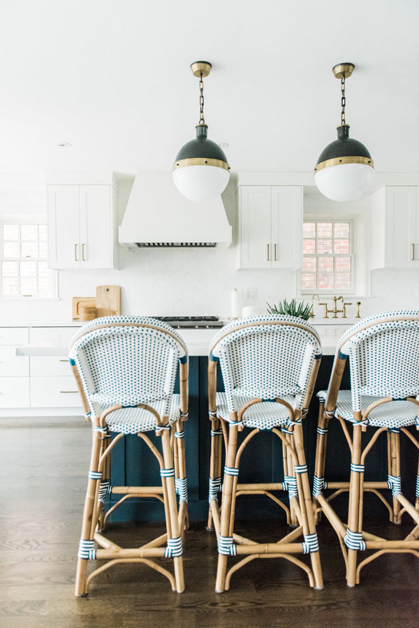 Designer Spotlight Kate + Amanda | Arianna Belle Blog | white light-filled kitchen with french bistro blue stools