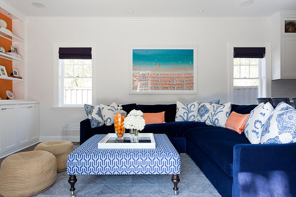 Designer Spotlight: Lucie Ayres | Arianna Belle Blog | Living Room with Blue Couch