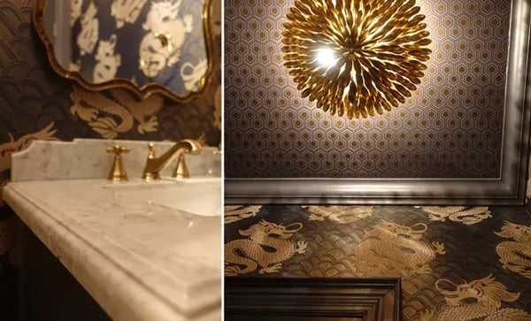 luxury bath details with high end wallpaper and gold accents | Designer Spotlight: Meredith Heron | Arianna Belle Blog