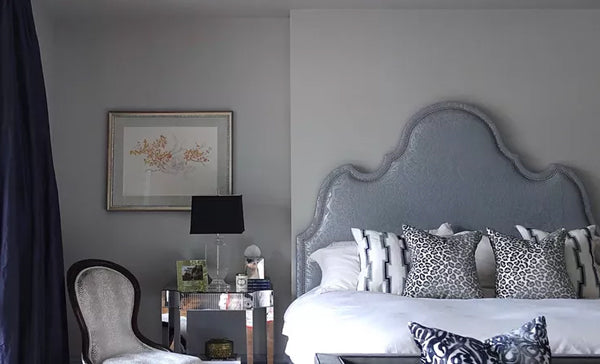 luxury bedroom in soft greyish blues and glamorous accents | Designer Spotlight: Meredith Heron | Arianna Belle Blog