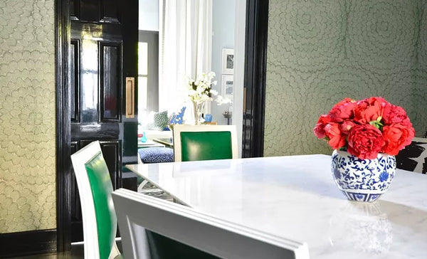 dining space with emerald green chairs | Designer Spotlight: Meredith Heron | Arianna Belle Blog