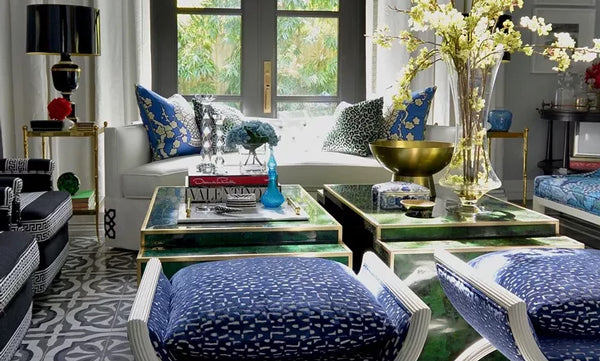 mix of patterns in blue and green living room | Designer Spotlight: Meredith Heron | Arianna Belle Blog