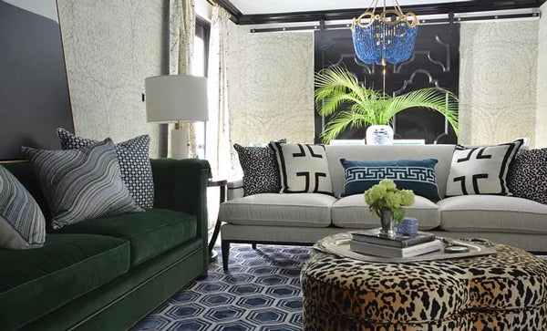 blue and green living room with mix of patterns | Designer Spotlight: Meredith Heron | Arianna Belle Blog