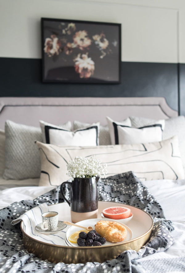 interior designer Shannon Claire Smith | black and white bedroom with bordered pillows | Designer Spotlight series Arianna Belle Blog
