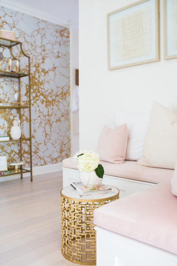 interior designer Shannon Claire Smith | bench with pink pillows | Designer Spotlight series Arianna Belle Blog