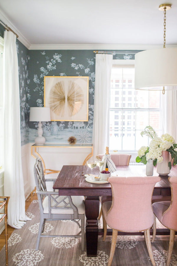 Interior Designer Shannon Claire Smith | Dining Room With Pink Chairs And  Chinoiserie Wallpaper