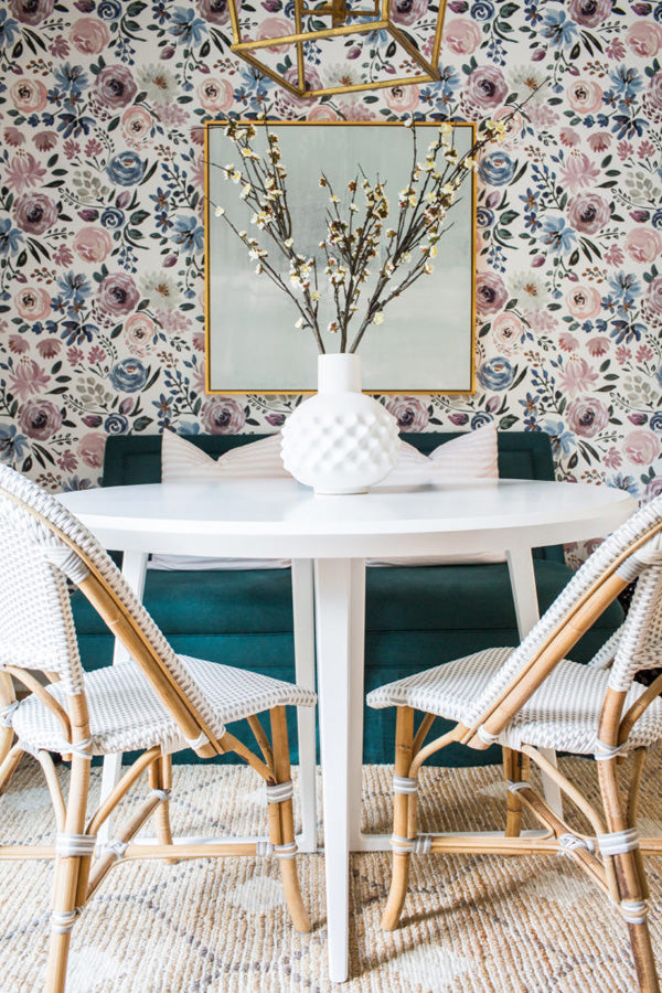 interior designer Shannon Claire Smith | dining space with french bistro chairs floral wallpaper settee with pillows | Designer Spotlight series Arianna Belle Blog