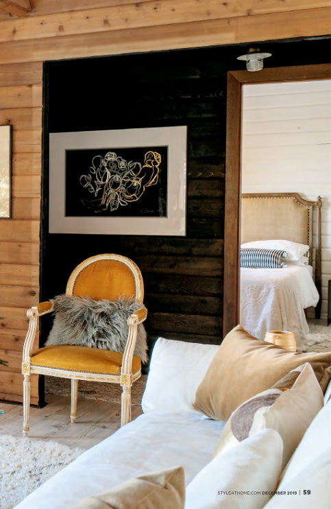 cedar log cabin featured in Style at Home Magazine