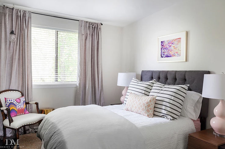 Before & After - Bedroom designed by Naomi Stein with long lumbar pillow from Arianna Belle