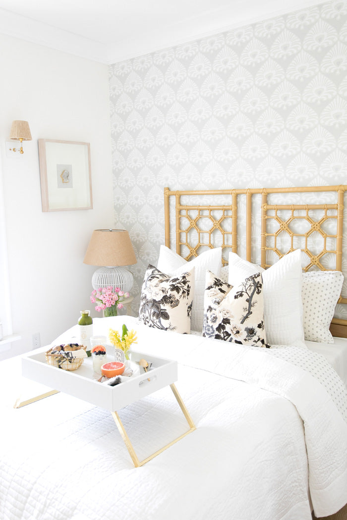 Pyne Hollyhock designer pillows from Arianna  Belle on white bed | bedroom of Monika Hibbs