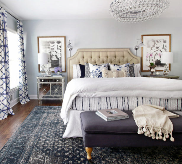Before and After: Bedroom makeover by designer Kristin Jackson / pillows from Arianna Belle