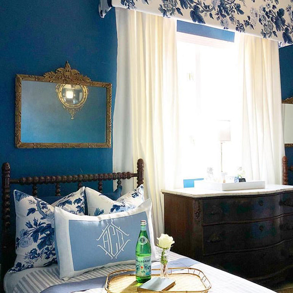 Pyne Hollyhock Indigo Blue designer pillows | two 20x20 on twin bed | interior design by Carissa Stevens
