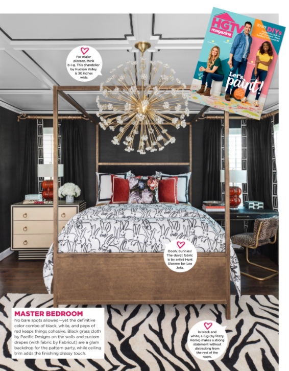 Veronica Solomon luxurious moody master bedroom as seen in HGTV magazine | black and white with pops of color