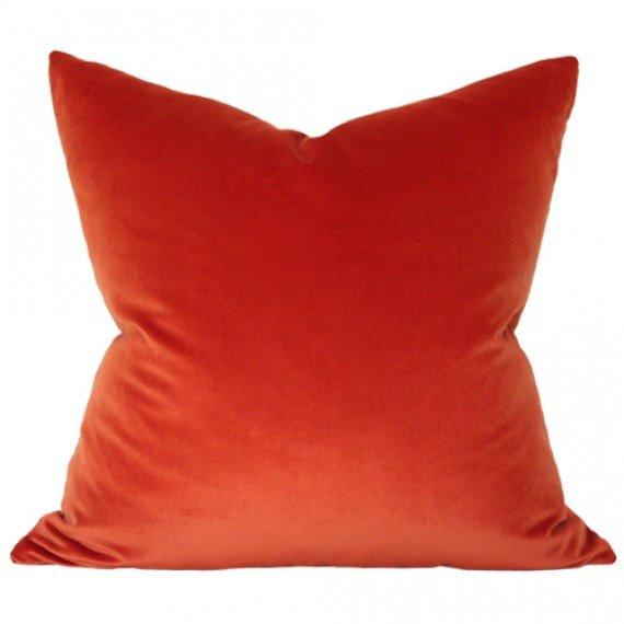 Rust Copper Velvet Designer Pillow