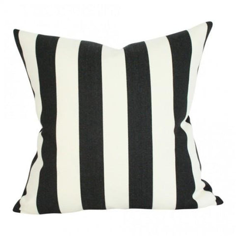 Cabana Striped Black & White Custom Designer Pillow | Arianna Belle