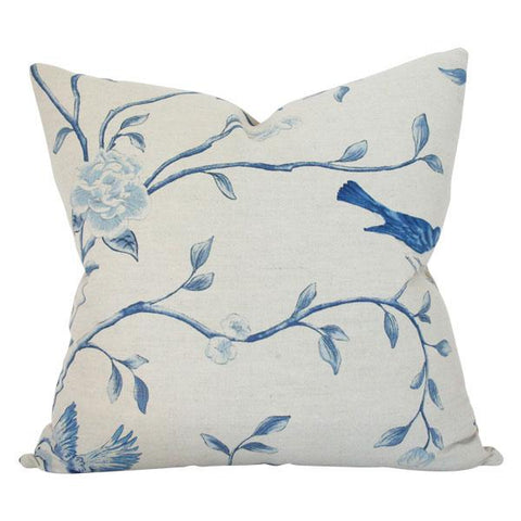 Blue & Taupe Chinoiserie Custom Designer Pillow | Arianna Belle
